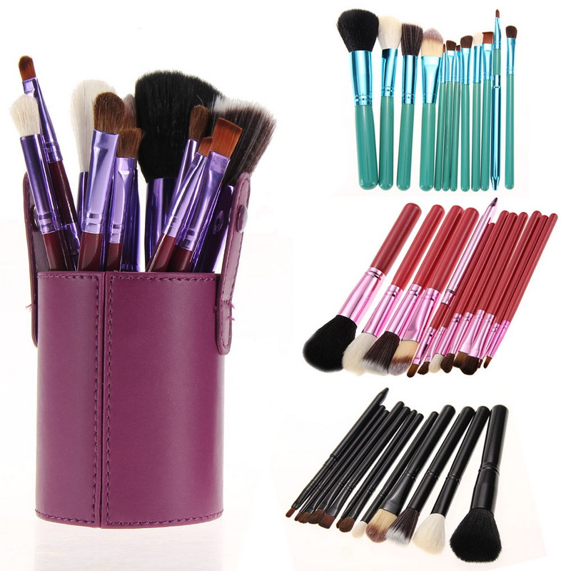 12Pcs Professional Cosmetic Makeup Brush Tool Kit Set Powder Concealer with Cup Leather Holder Case GUB# bob cosmetic makeup powder w puff mirror ivory white 02
