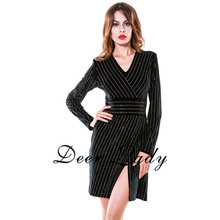 Free Shipping Big Size Bodycon Dress For Women With Sleeves Embellished Black V Neck Dress Long Sleeves Top Quality HL Dress(China)
