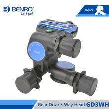 Benro gd3wh cabeça gear drive 3 way cabeça cabeças tridimensionais para tripé de câmera carga máxima 6kg frete grátis