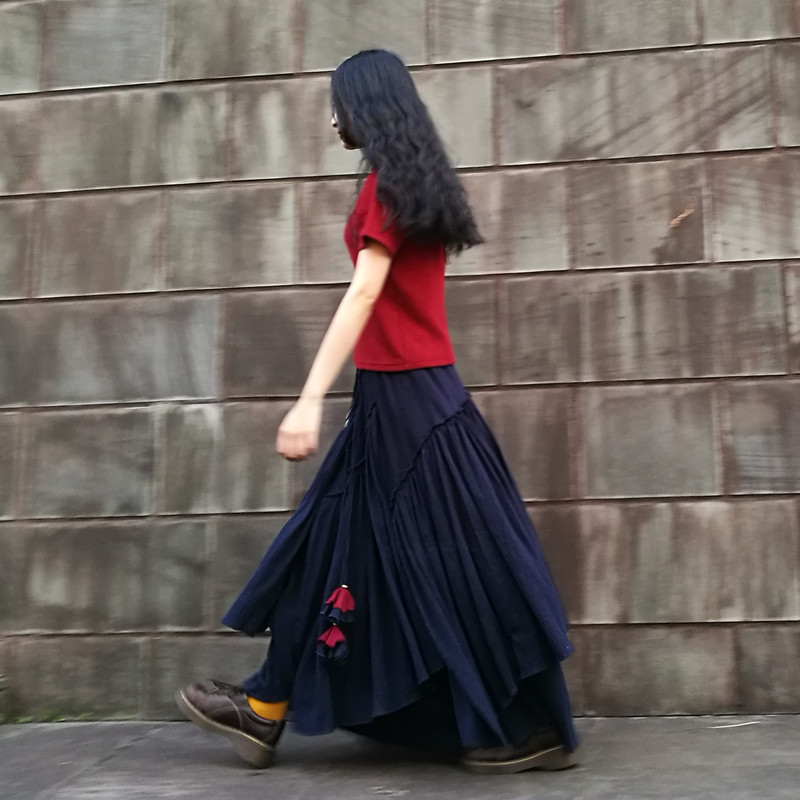 送料無料 2019 新ファッションロングマキシ A ライン弾性ウエスト女性夏と春リネンプラスサイズ S 2XL 高品質スカート  グループ上の レディース衣服 からの スカート の中 1