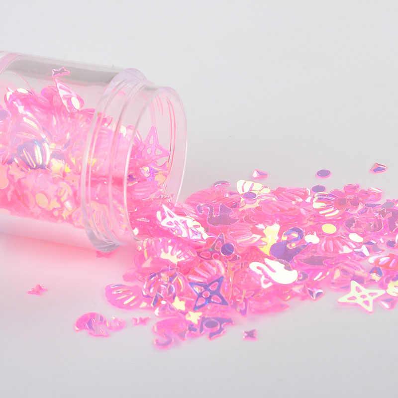 10 г/упак. розовый кристалл микс Луна точка оболочки Лебедь ногтей Блестки пайетками Свадебное Ремесло, слизь делая свадебные конфетти украшения