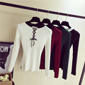 Lace up Spring sweater women 2017 Casual Slim ribbed top knitwear Sexy jumper Elastic hem pullover outwears one size
