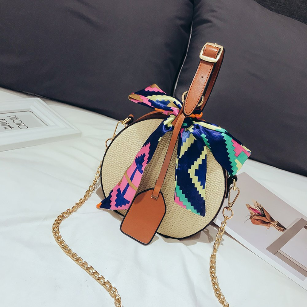 DCOS Women's Straw Bag Crossbody Bag Woven Bag Summer Leisure Bag Small Round Single