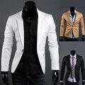 2016 hombres de ropa de primavera chaqueta prendas de vestir exteriores dishabille traje masculino ocasional delgado traje blanco de manga larga