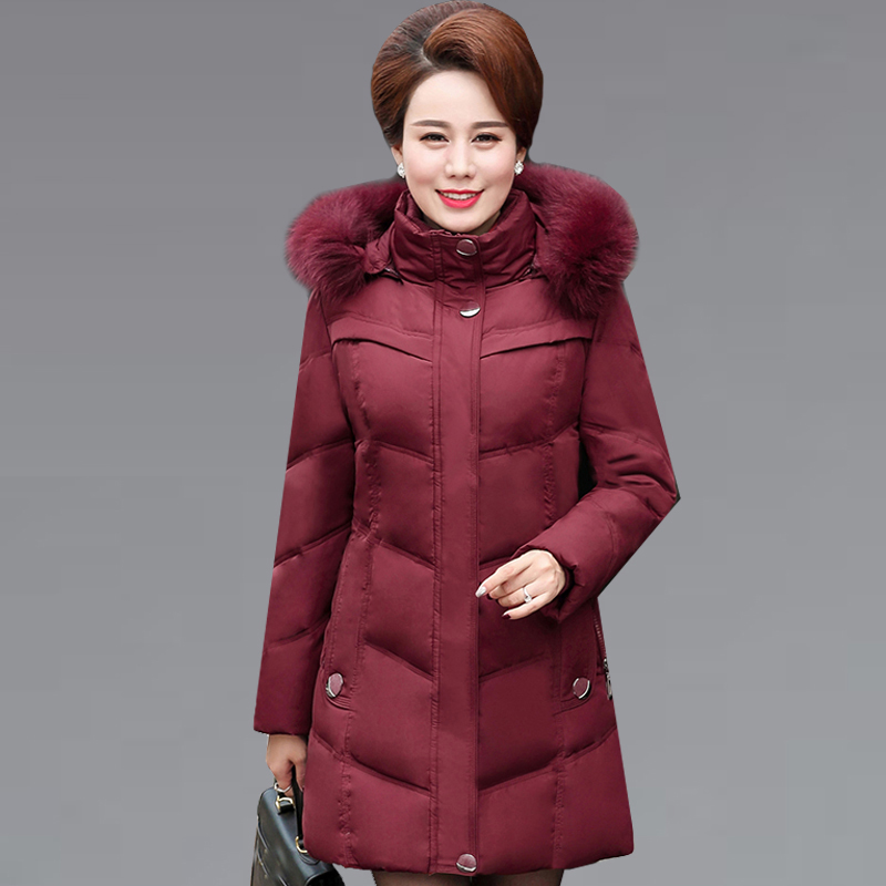 2017 Long Winter Jacket Women Slim Female Warm Middle-aged Coats Thicken Parka Plus Size Cotton Clothing Hooded Jackets QH0893