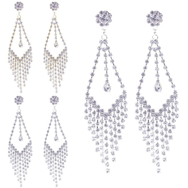 a0040f6a4e501 US $1.38 |Silver Plated Clear Crystal Rhinestone Chandelier Dangle Earrings  Prom Bridal-in Drop Earrings from Jewelry & Accessories on Aliexpress.com  ...