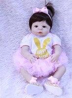 Reborn full silicone baby dolls 22inch brown hair wig blue/brown eyes princess dress fashion bebe BJD reborn bonecas
