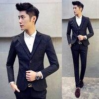 Alta qualidade tamanho grande 5XL ternos Magros dos homens Vestido de Noiva roupa Formal desgaste Adolescente masculino Business Casual Ternos jaqueta + colete + calça