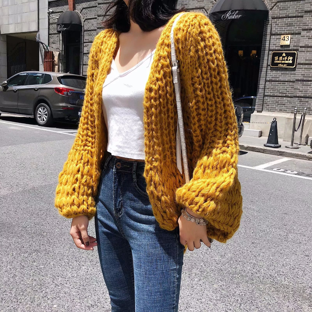 2018 Handmade Knitted Cardigans Sweater Mohair Plus Size Loose Coat Sweaters Women Hollow Winter