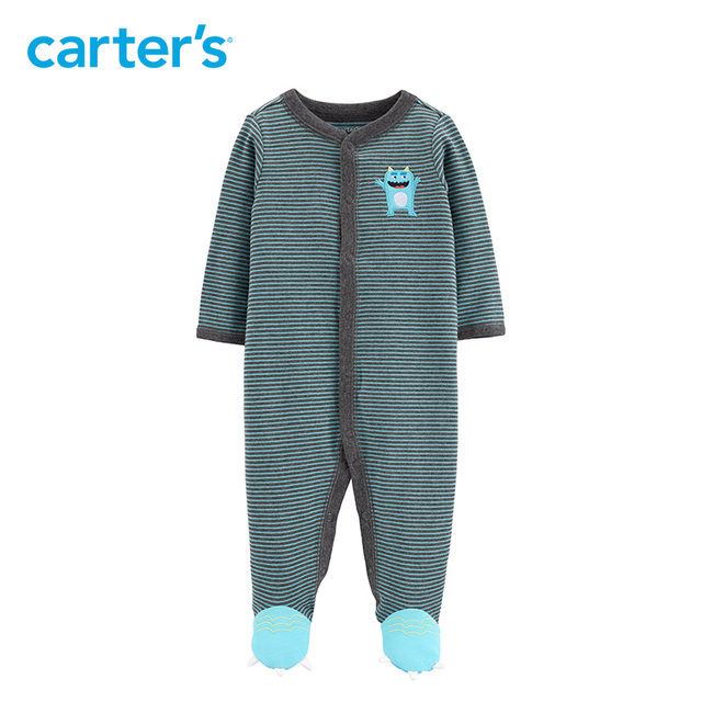 dbb7c3c42b0b Carters Baby boy clothes Monster Snap-Up Cotton Sleep   Play long sleeve  footies jumpsuit newborn baby clothing 15927610