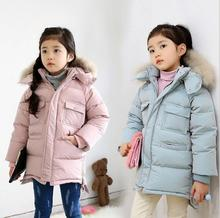 2016 Kids Jackets winter coats thick Faux fur collar with hood Kids cotton-padded clothes boys Snowsuit Baby Girls outerwear