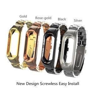 Image 4 - Mi band 3 mi band 4 ersatz Metall Strap handgelenk strap Edelstahl Armband Armbänder MiBand 3 strap für Xiaomi mi band 4
