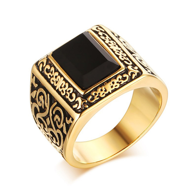 Heyrock Fashion Golden Men Engagement Rings Stainless Steel Black Stone Personalized Wedding For Jewelry