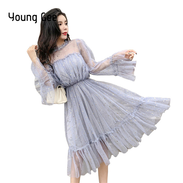 Young Gee Fashion Women See-through Sequined Dresses vestidos verano Romantic Flare Sleeve Sexy Mesh Sweet Loose Ruffles Dress