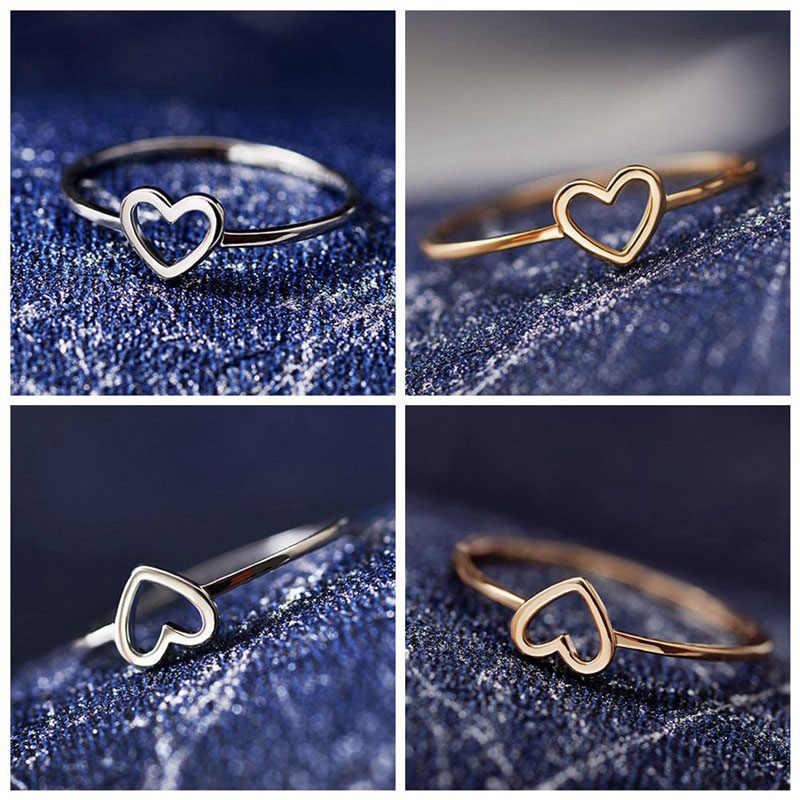 2019 mode minimaliste cuivre or Rose creux en forme de coeur anneaux de mariage pour femme amour bague pour meilleur ami WD107