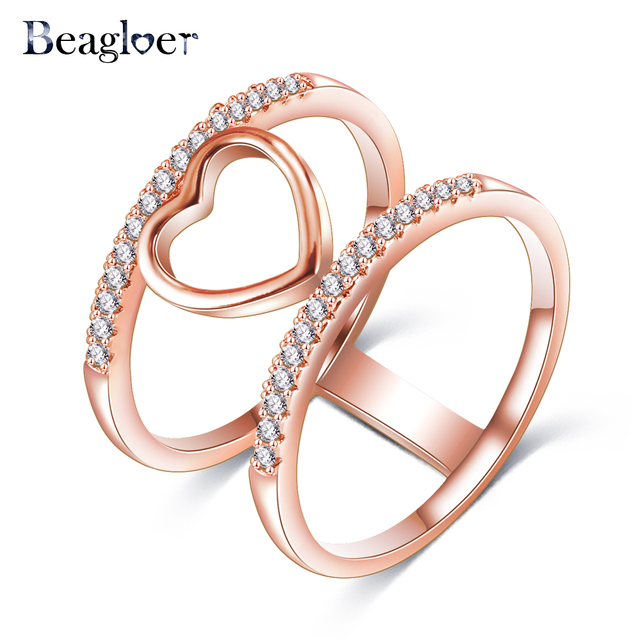 Beagloer Two Tone Connected Rose GoldSilver Color Love Heart