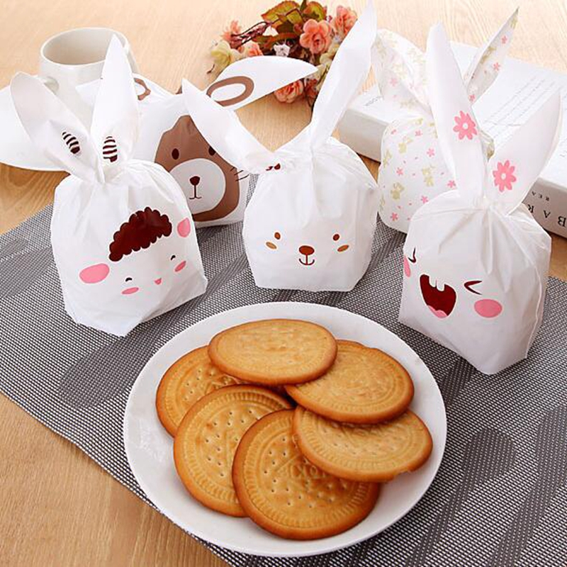 50Pcs Cute Rabbit Ear Biscuit Bag Bunny Cookie Bags Cake Food Packaging Candy Gift Bag Cartoon Wedding Birthday Party Decoration