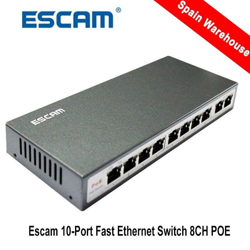bilder für Escam 8ch poe-switch 10/100 m 150 mt abstand 120 watt 2 lan-anschluss für Ip-kamera CCTV-System NVR POE Netzteil POE 8CH