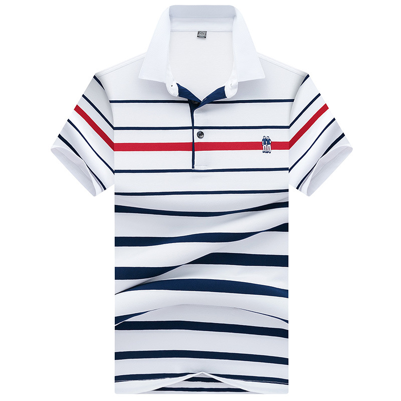 New Men's Short Sleeve   Polo   Shirts Male Fashion Striped Cotton Casual   Polo   Shirt Men Brand Clothing Fat Slim Tees M-3XL AJ8071