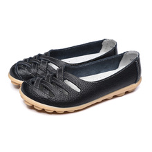 Plus Size EU25-61 Women Summer Casual Shoes Genuine Leather Flats Heel Mother Shoes Women's Flats Cut-Outs Zapatos Mujer WSH1112