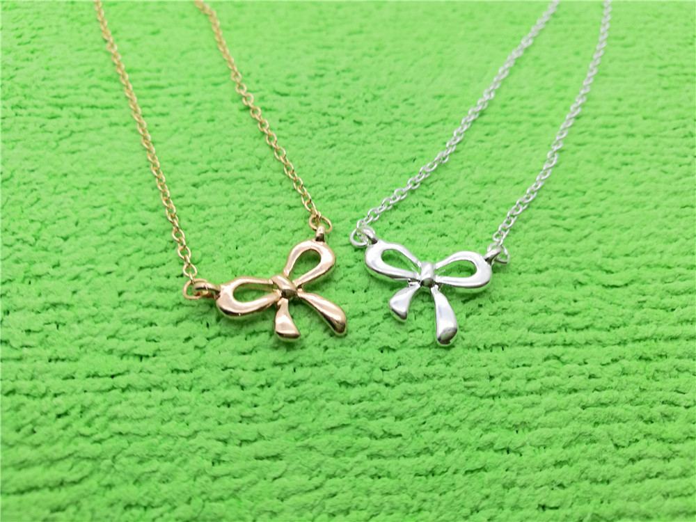 1PCS- N108 Gold Silver Bow Knot Necklace Choker Bowknot Necklace Butterfly Tied Ribbon Necklace Infinite Infinity Necklaces белая рубашка с объемными рукавами и вырезом
