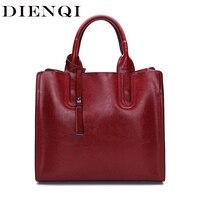 DIENQI Vintage Oil Wax Cow Leather Women Handbags Genuine Leather Big Capacity Female Red Tote Bags Ladies Crossbody Bags 2018