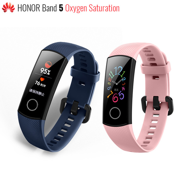 Original Huawei Honor Band 5 Smart Wristband Blood Oxygen Color Touch Screen Swim Stroke Monitor Heart Rate Sleep Nap