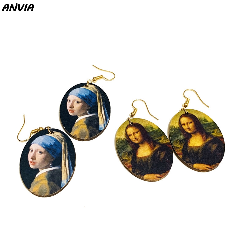 Simple Fashion Wreath Drop Oil Earrings Personality Circle Flower Earrings FY