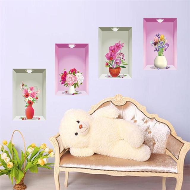 Wall Stickers For Living Room 3d colorful flower beautiful pvc wall stickers diy living room tv