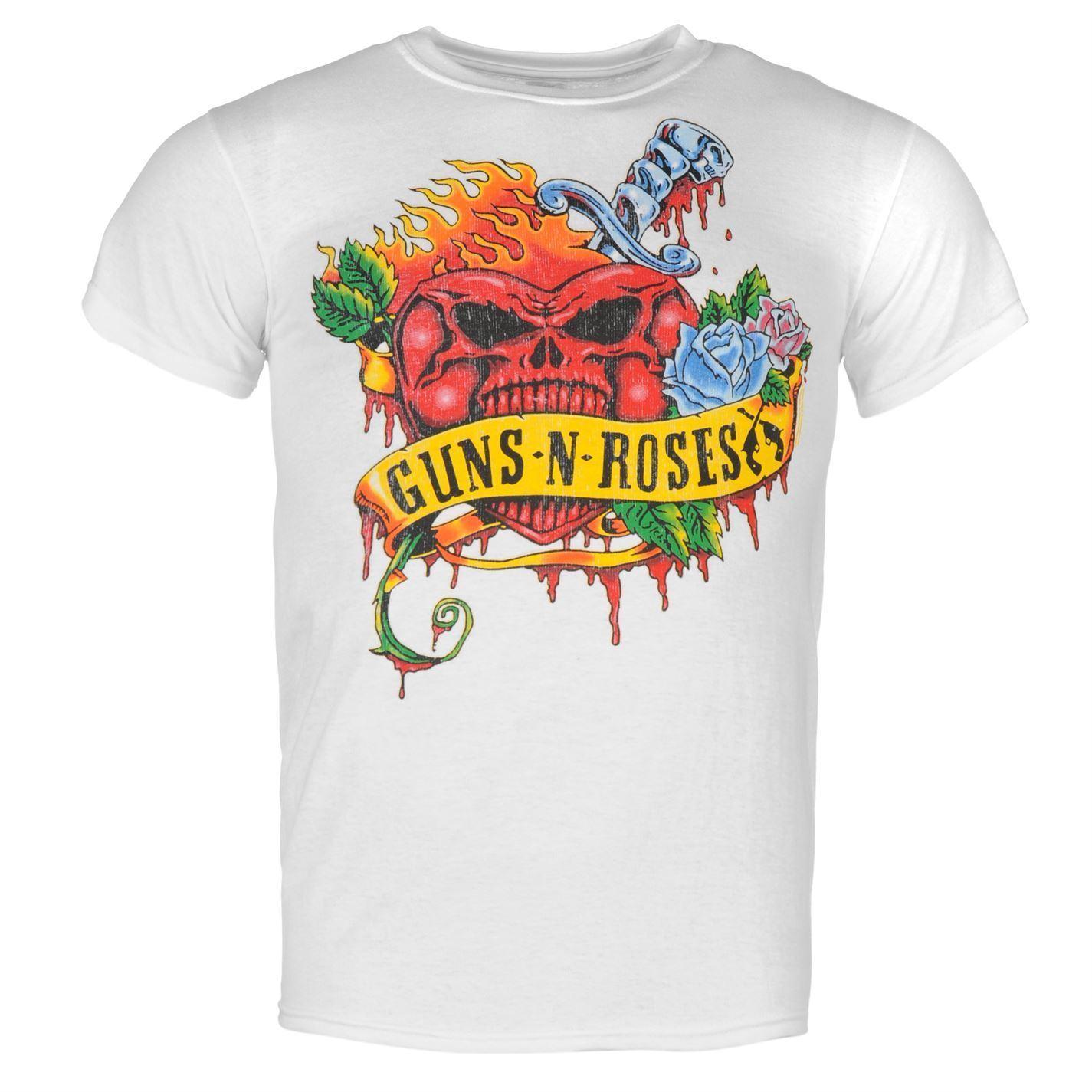 Guns N Roses Official Heart Skull T-Shirt Mens White Top Tee Shirt 3D Men Hot Cheap Short Sleeve Male T shirt