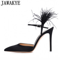 Spring Summer Gladiator Sandals Women Thin High Heels Black Satin Feather Decor Runway Shoes Women Slingback