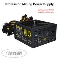 2000 Вт ATX Gold Mining питание SATA IDE 8 GPU для ETH BTC эфириум монета Шахтер Поддержка 8 видеокарта 160 240 В питание