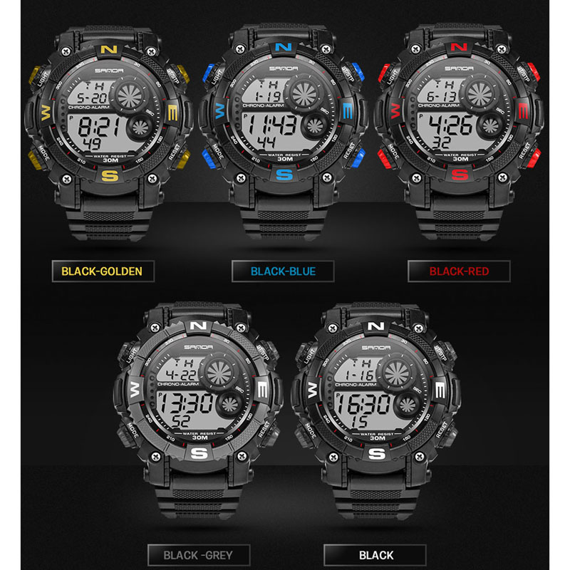 SANDA Waterproof Mens LED Digital Date Alarm Military Rubber Sports Wrist WatchSANDA Waterproof Mens LED Digital Date Alarm Military Rubber Sports Wrist Watch