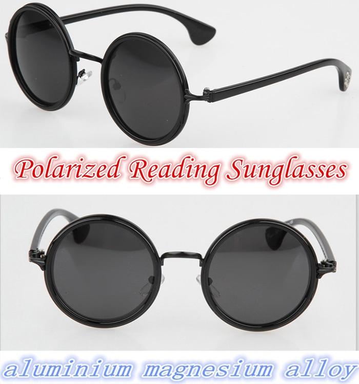 !!Polarized reading sunglasses!! alloy Retro round oversize men women polarized sunglasses +1.0 +1.5 +2.0 +2.5 +3 +3.5 +4.0