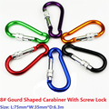10 PC/Lot 8# Gourd shaped Carabiner With Screw Lock Mosqueton For Outdoor Camping Hiking EDC Tool AA09-10P