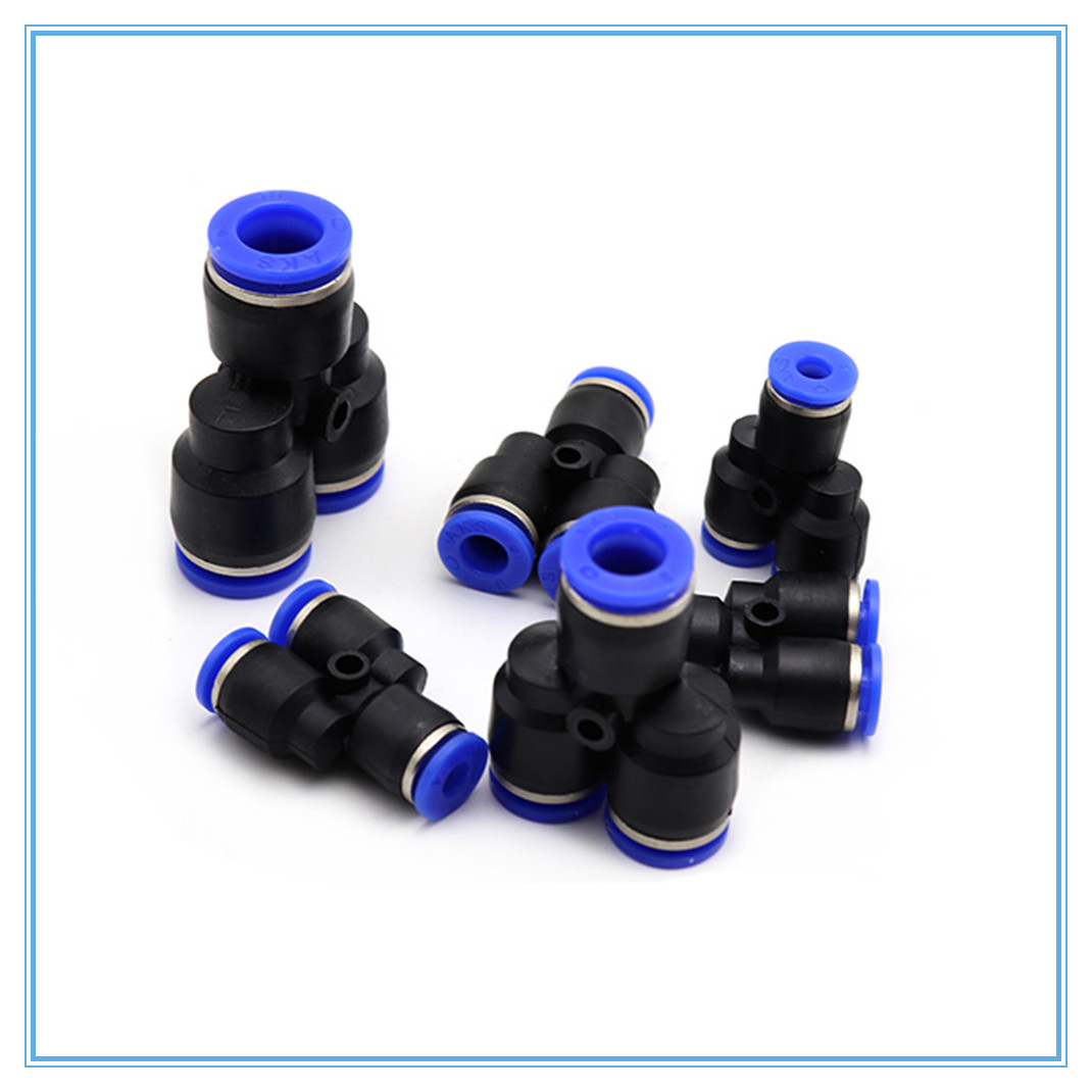 3 Way Port Y Shape Air Pneumatic 4 6 8 10 12 14 16mm OD Hose Tube Push In Gas Plastic Pipe Fitting Connectors Quick Fittings
