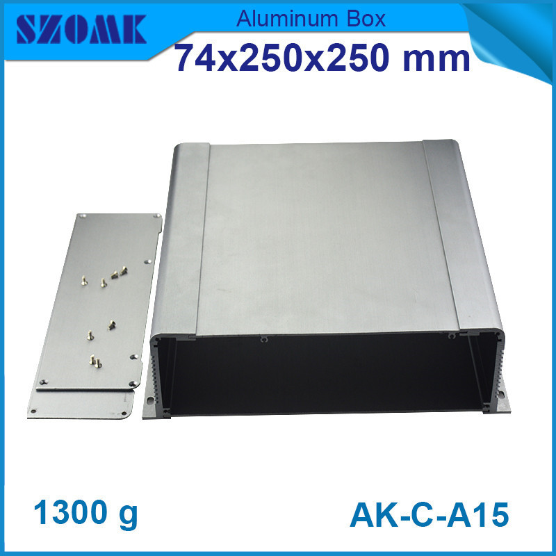 4 pieces a lot, electrical aluminum instrument cabinet grey electronics enclosure 74*250*250mm