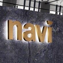 Металлические лицевые буквы знак магазина логотипа с акриловой подсветкой/из стали с латунной, черной, золотой, черной, розовой медной отделкой
