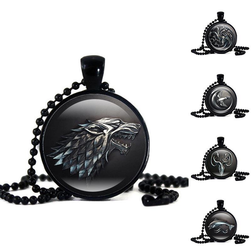 Hot New Game Of Throne Necklace Cosplay Costumes Prop Badge 9 Family Logo Pendant Jewelry Accessories Gift