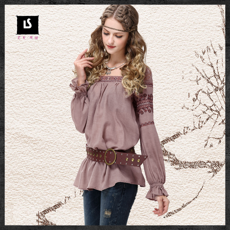 2017 women's vintage shirts Bohemian style embroidery cotton butterfly  sleeve classic blouse boho casual tops camisa Plus size-in Underwear from  Mother ...