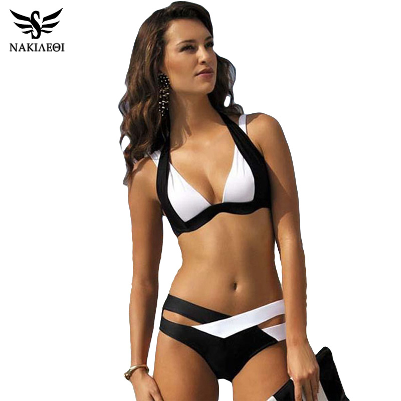 NAKIAEOI Sexy Bikinis Women Swimsuit 2019 Summer Beach Wear Bikini Set Push Up Swimwear Bandage Bathing Suit Black And White XL