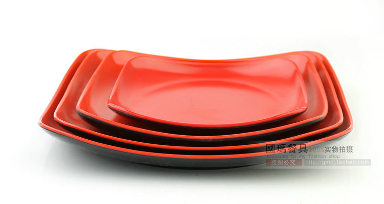8INCH Japanese Style Imitation Porcelain Dinnerware Black Red Square Melamine Plates Dishes Christmas Plastic Cake Container-in Disposable Plates from Home ...  sc 1 st  AliExpress.com & 8INCH Japanese Style Imitation Porcelain Dinnerware Black Red Square ...
