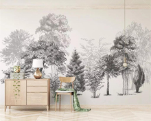 Beibehang Custom wallpaper modern fashion black and white sketch style abstract woods TV background wall mural 3d