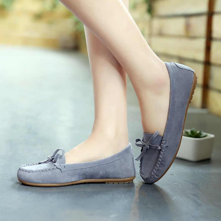 Boog kwastje Vrouwen Flats schoenen Instappers Snoep Kleur Slip op Platte Schoenen Ballet Flats Comfortabele Dames schoen zapatos mujer maat 35-