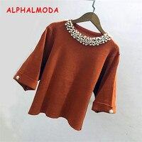 ALPHALMODA 2017 Autumn Ladies Sweet Beading Collars Batwing Half-sleeved Solid Color Ladies Graceful Sweater Tops
