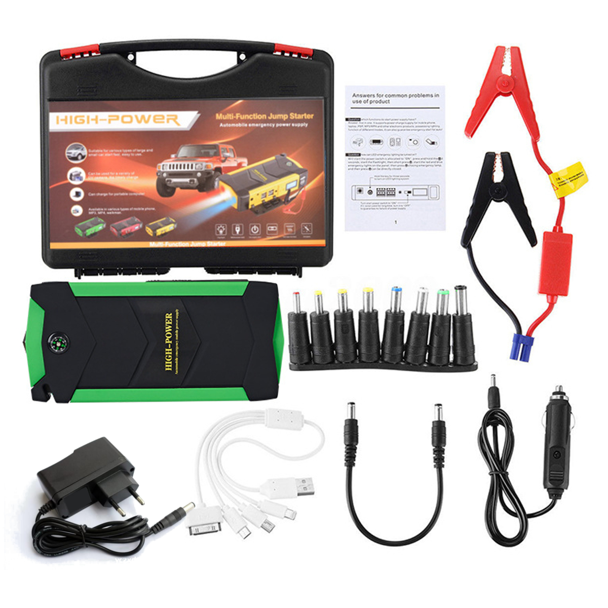 Car Battery Jump Starter 12V 82800mAh 4 USB Portable Charger Booster LED Emergency Multifunction Power Bank Kit for Car