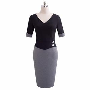 Image 2 - Güzel sonsuza kadar Vintage olgun Patchwork kısa düğme kollu v yaka giymek iş Bodycon kadın ofis kalem ince elbise B364
