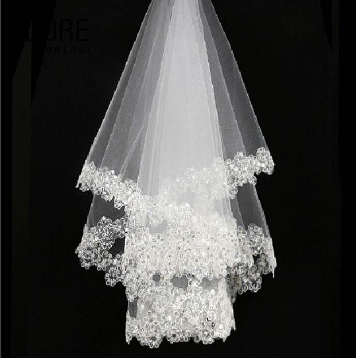 Cheap free shipping 1.5m white/ivory bling flowers wedding veil ...