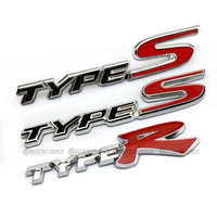 Red R TYPE S TYPE R Chrome Metal Car Styling Emblem Badge 3D Sticker Auto Refitting