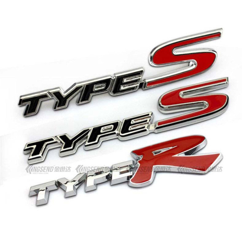Red R TYPE S TYPE R Chrome Metal Car Styling Emblem Badge 3D Sticker Auto Refitting Grille Logo Decal for Honda Civic Grider emblem